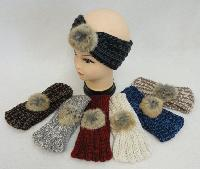 Hand Knitted Ear Band [Variegated Loop with Fur PomPom]